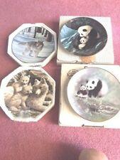 Set of 4 Animal Collector Plates, Pandas, Wolves, Free Shipping