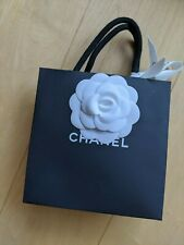 CHANEL PAPER SHOPPING GIFT BAG WITH CAMELLIA RIBBON MINI SIZE