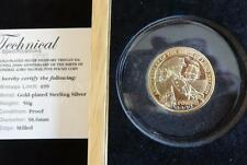 2008 SILVER PROOF GOLD PLATED TDC £5 PIEDFORT COIN + SAPPHIRES LORD NELSON 499