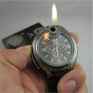 Watch Lighter Men Military Leather Wrist Band S Sport Refillable Stainless Steel
