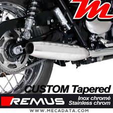 2x Silencieux échappement Remus Custom Inox chromé Triumph Bonneville T100 2017