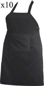 Black apron water proof resist vinyl back chef cook butchers pocket bib halter