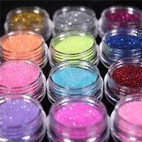 45 Colors Glitter Powder Dust Nail Art Acrylic UV Gel Decoration Tips Set Makeup