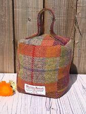 Orange Check Harris Tweed Doorstop, Handmade Tweed Door Stop, Fabric Doorstop