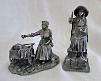 Pewter American People PEPPER POT LADY & MATCH GIRL 1980 Vintage Franklin Mint