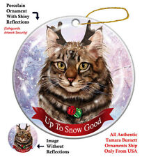 Maine Coon Cat Christmas Holiday Ornament Up To Snow Good