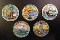 2018 Colorized US National Park Quarters Set P Mint(5 Coins)