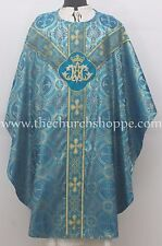 New Metallic Marian Blue vestment, stole set, gothic chasuble, casulla ,New