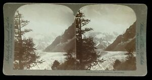 Universal William Rau Stereoview Photo Mer de Glace Montanvert Switzerland ~1900