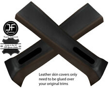 BLACK & BROWN LEATHER 2X UPPER B PILLAR COVER FOR JEEP WRANGLER JK 11-17 4 DOOR