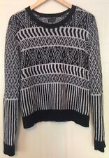 Topshop Black and White Geometric Knit Acrylic Angora Jumper 14 M 42
