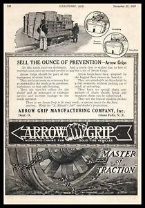 1919 Arrow Grip Glen Falls New York Truck Tire Non-Skid Chains Vintage Print Ad