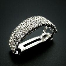 "Silver 2.25"" Rhinestone Jeweled Crystal Barrette Ponytail Holder Updo Hair Clip"