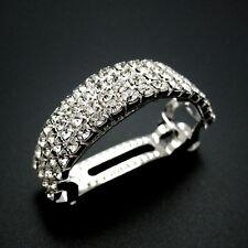 "Silver 2.25"" Rhinestone Jeweled Crystal Barrette Ponytail Holder Updo Hair Clip"