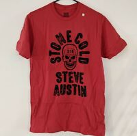 *NEW* STONE COLD STEVE AUSTIN WWE Wrestling Legends Red T-Shirt Mens Size S