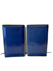 """2 Pottery Barn ASIAN SQUARE Blue Sapphire SUSHI Plates Platters Appx 10.5 X 6.5"""""""