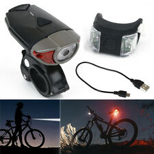 Rechargeable USB Charger Bike Bicycle Cycling Front Head Lamp & Rear Tail Light