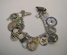 "Vintage Sterling Silver Trip to North America Charm Bracelet  7 1/4"""