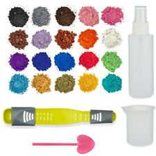Natural mica powder pigment 20 set for soap, epoxy with spray/silicon measuring