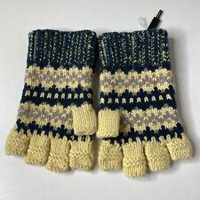 Burberry Men's Fair Isle Wool Cashmere Blend Fingerless Gloves Pine Green/Yellow