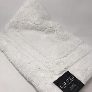 RALPH LAUREN Bath Rug Anti Slip Solid White 27x44 inches LARGE RUG 100% Cotton