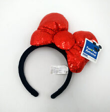 Disney Parks Mickey Festival Red Bow Sequins Minnie Mouse Ears New Cos Headband