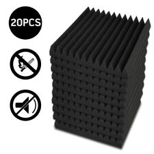 20x Studio Acoustic Foam Sound Absorbtion Proofing Panel Wedge 30x30x5cm Black