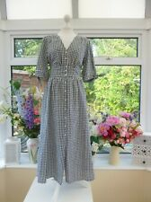 STUNNING NEW MONSOON BLACK & WHITE GINGHAM COTTON DOLLY 40's STYLE TEA DRESS 18