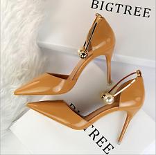Fashion Women's Pointed Toe Pumps Stilettos Pearl Decor Sandals High Heel Shoes