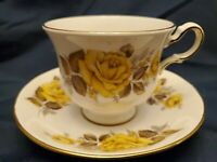 Vintage Queen Anne Bone China England Tea Cup And Saucer Yellow Roses. LOVELY!
