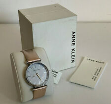 NEW ANNE KLEIN AK WHITE FACE PINK METALLIC LEATHER BRACELET STRAP WATCH $65 SALE