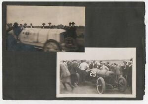 Two 1920s Photo of Racing Cars during Race from the Indianapolis 500