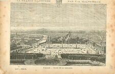 PARIS PLACE DE LA CONCORDE FRANCE GRAVURE ANTIQUE OLD PRINT 1882