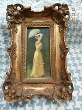 ORIGINAL FRENCH OIL PAINTING BY LUIS RAMON 1910 IN GILDED HAND CARVED WOOD FRAME