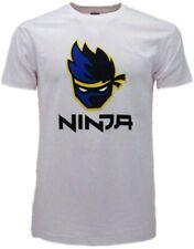 NINJA T-Shirt Maglietta Bianca Logo Gamer Youtuber FORTNITE Originale Videogioco