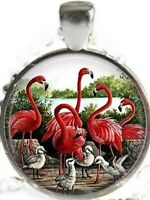 """PINK FLAMINGO ANIMAL BIRD  charm pendant 18"""" Sterling Silver necklace Gold Gift"""