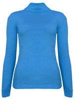 New Womens Cotton Ribbed Jumper Polo Turtle High Roll Neck Long Sleeve Knit Top