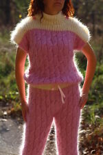 New Hand Knit Mohair Pants,Sexy Union Suit,Pink,Thick and Fuzzy,Handmade