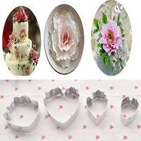 4PCS Fondant Cake Decoration Floral petal Mould Cutter Gum paste Peony Mold Tool