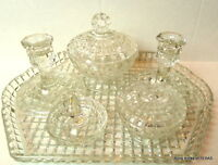 Depression Glass Vanity Bowls Set Collection with candle holders Lot 8 pieces