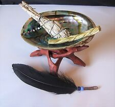 WHITE SAGE SMUDGE STICKS STARTER SET WITH STAND AND FEATHER