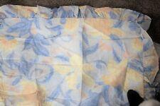 Pair (2) Blue, Yellow, White Ruffled Floral Vine Standard Pillow Shams - NEW
