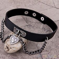 Heart Dangle Pendant Chain Punk Goth Leather Necklace Collar Choker Popular n