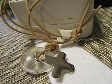 Silver Cross pendant w/cord necklace ~ MADE in KOREA LOW bid $$$ FREE SHIPPING!