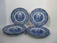 Liberty Blue Dinner Plates Ironstone Independence Hall Vtg Staffordshire Set  8