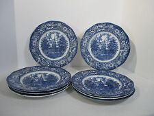 Liberty Blue Dinner Plates Ironstone Independence Hall Vtg Staffordshire Set  8