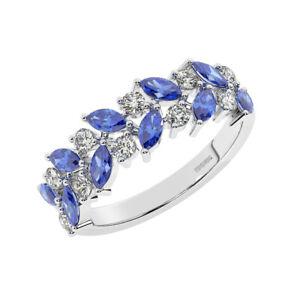 1.25CT ClawSet Double Row Round Diamond & Blue Sapphire Half Eternity Ring PT