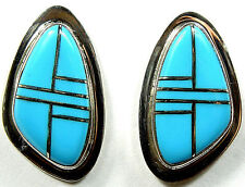 Blue Turquoise Inlay 925 Sterling Silver Post Earrings