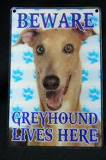 DOG BREED 3D DIMENSION SMALL SIGN BEWARE GREYHOUND LIVES HERE DOG SIGN