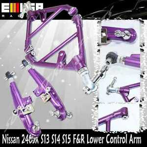 For 1990-1996 Nissan 300ZX Front & Rear Adjustalbe Lower Control Arm PURPLE